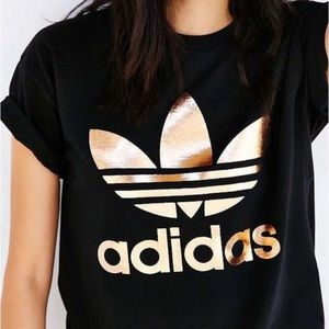 Adidas gold and black trefoil tee